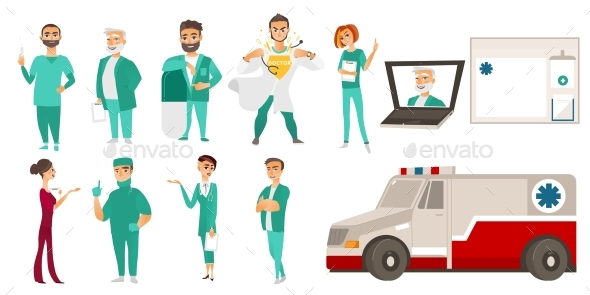 GraphicRiver Medical Staff Doctors Ambulance Online Help 20690459