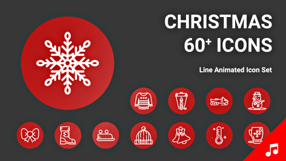 Christmas Holiday Xmas New Year Animation - Line Icons and Elements