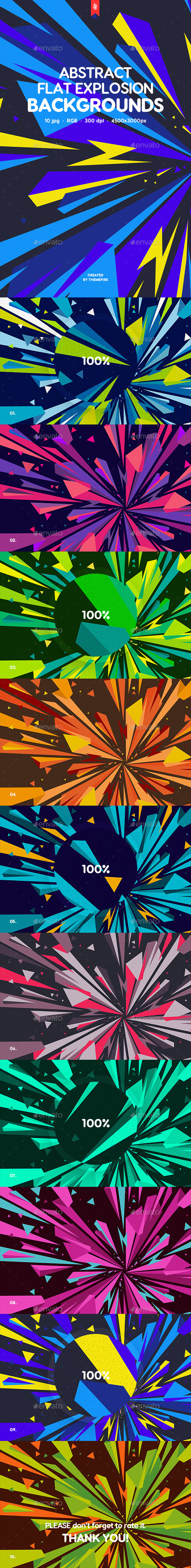 Abstract Flat Explosion Backgrounds - Abstract Backgrounds