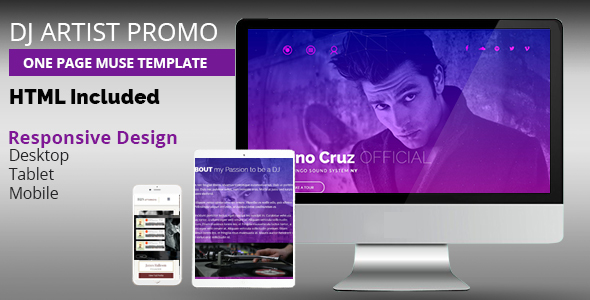 DJ Artist Promo One Page Muse Template