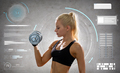 young sporty woman exercising with steel dumbbell