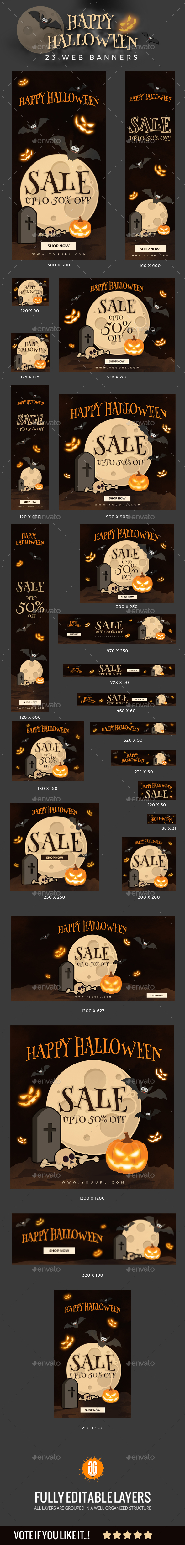 Halloween-Banner-V1 - Banners & Ads Web Elements