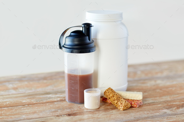 food and sports nutritional additives on table - Stock Photo - Images