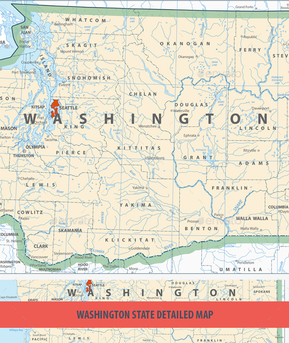 GraphicRiver Washington State Detailed Map 20691924