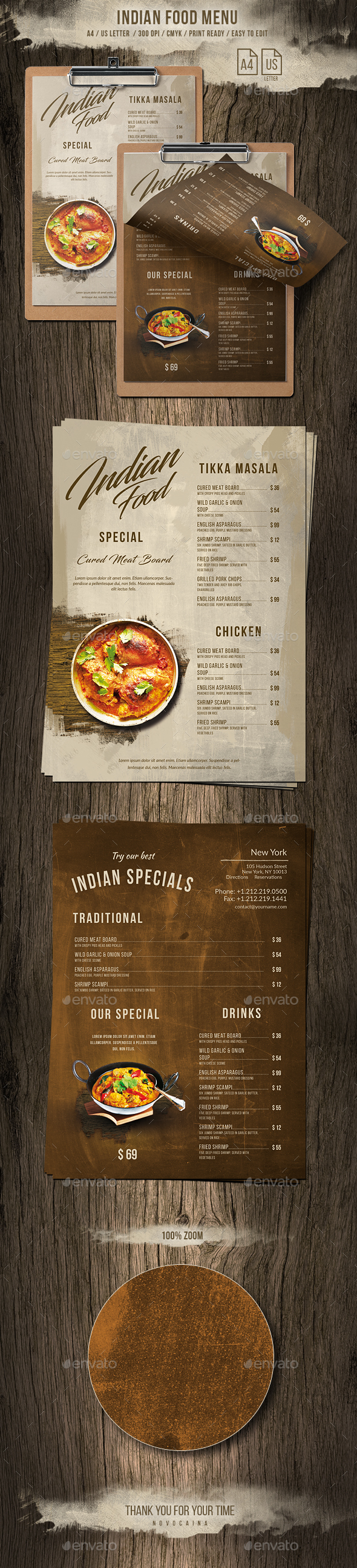 Indian A4 & US Letter Single Page Food Menu - Food Menus Print Templates