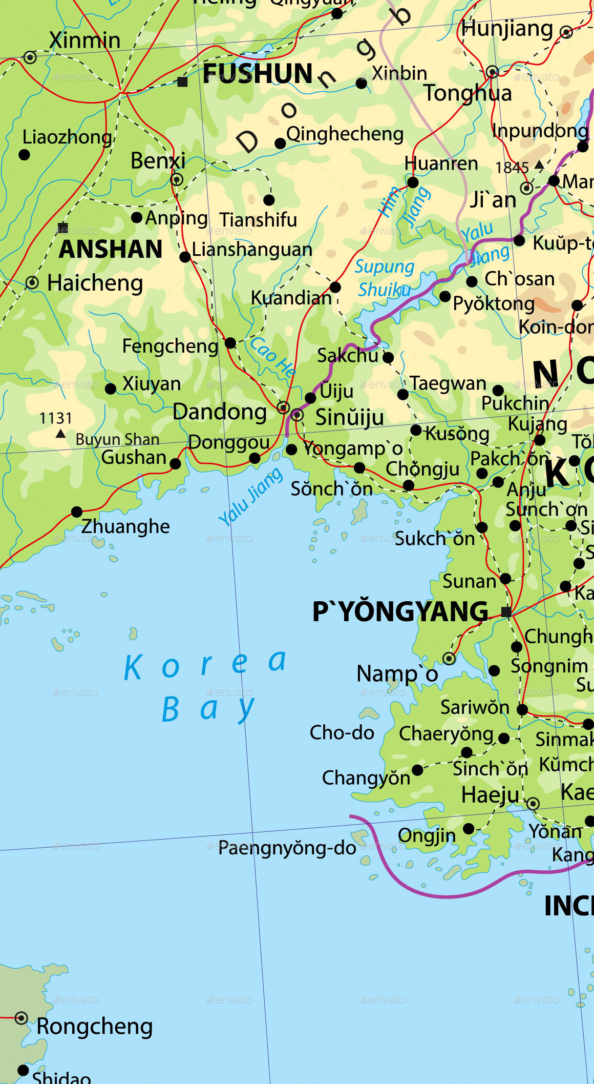 Korean Peninsula Physical Map by Cartarium | GraphicRiver