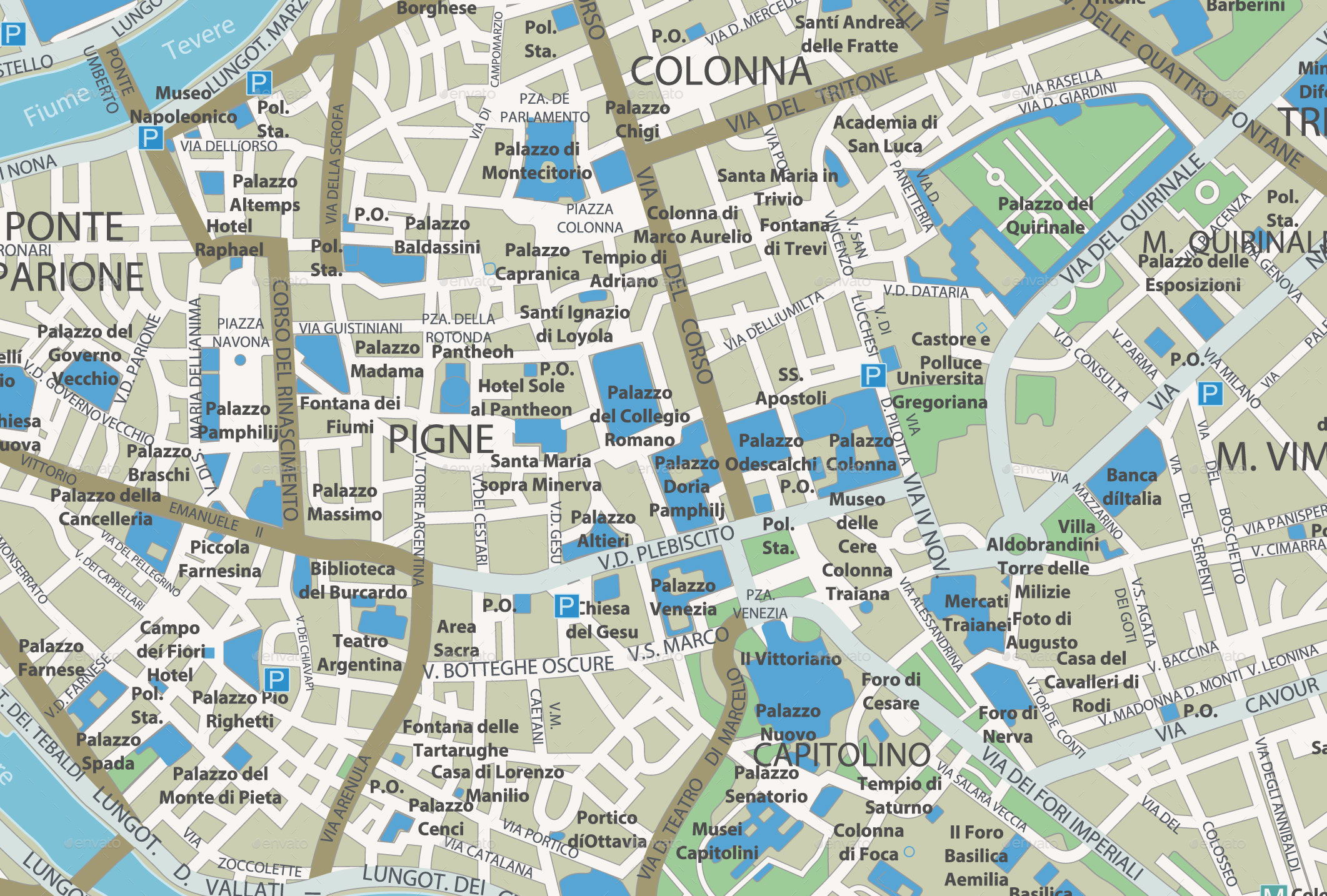 Rome City Map by Cartarium | GraphicRiver