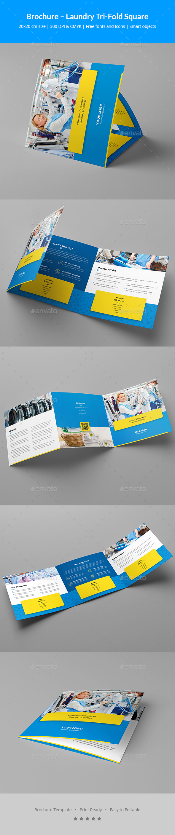 Brochure – Laundry Tri-Fold Square - Informational Brochures