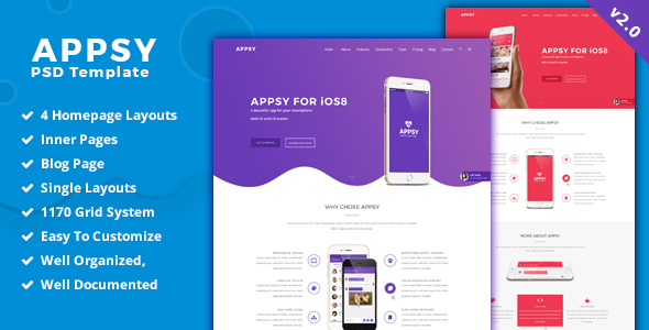 APPSY - App Landing Page  PSD Template - PSD Templates
