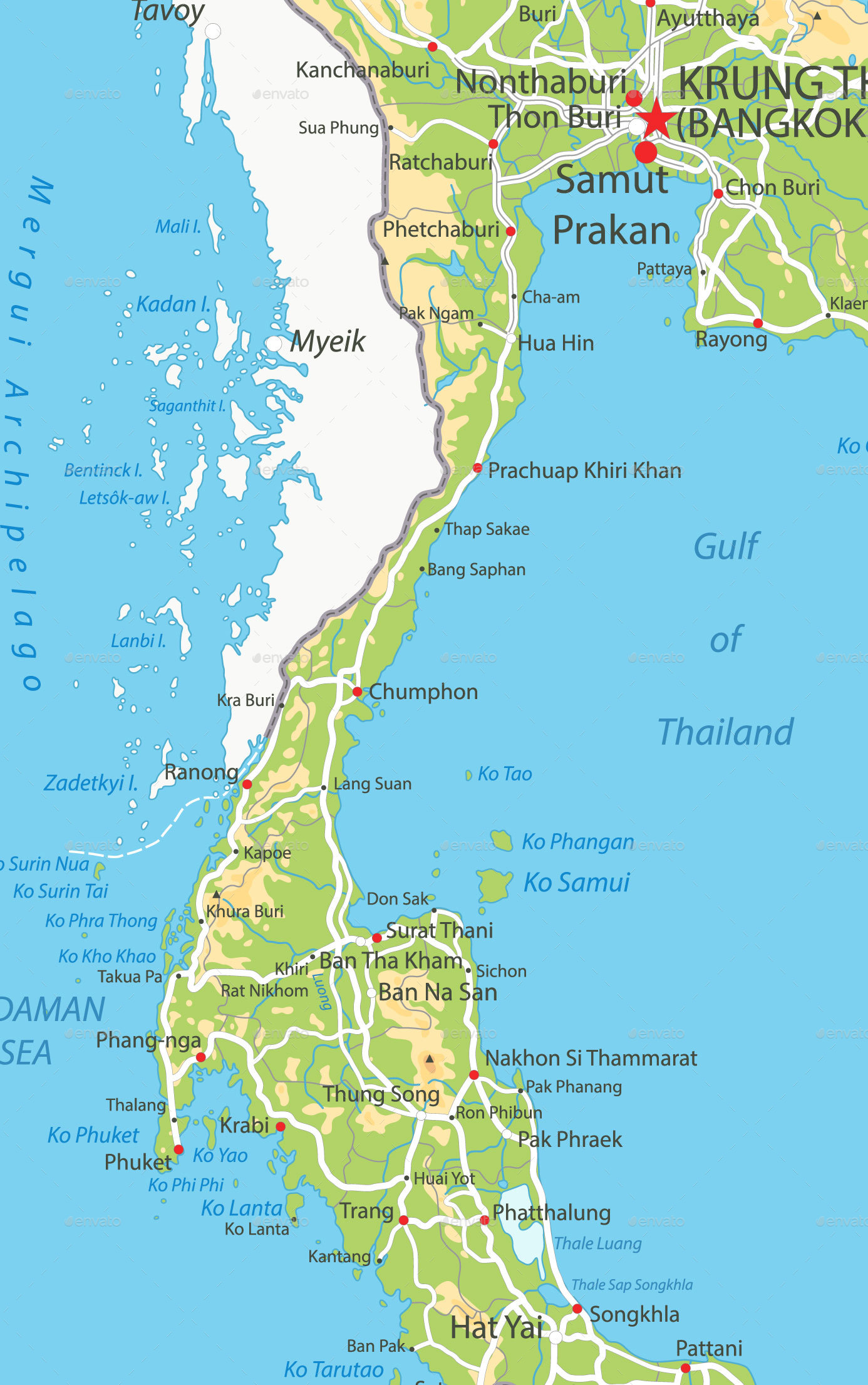 Thailand Physical Map   Travel Conceptual · 1 2 3 ...