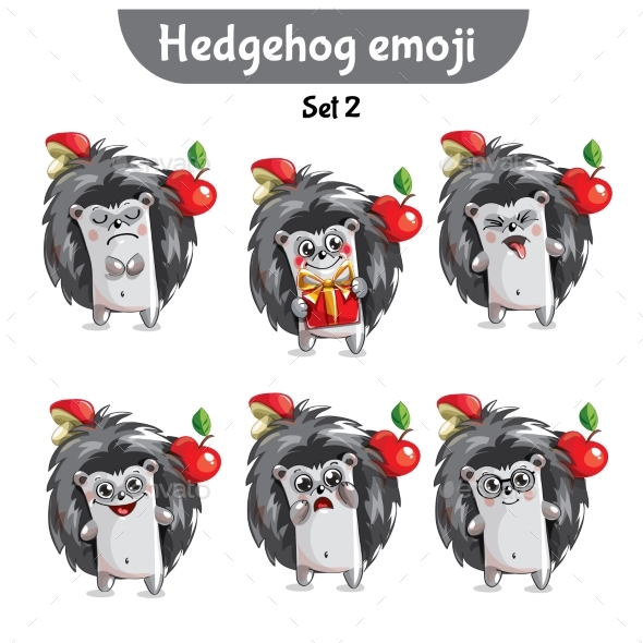 Vector Set of Cute Hedgehog Characters. Set 2 - Miscellaneous Vectors