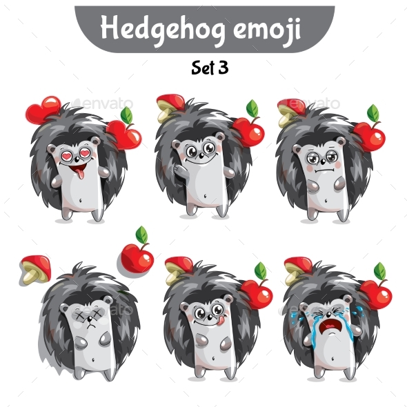 Vector Set of Cute Hedgehog Characters. Set 3 - Miscellaneous Vectors
