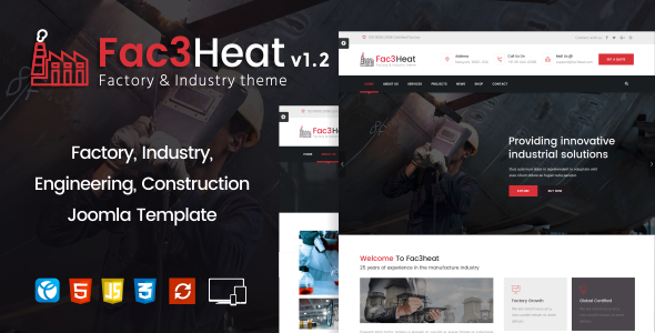 Download Fac3heat –   Factory, Industry, Engineering Joomla Template