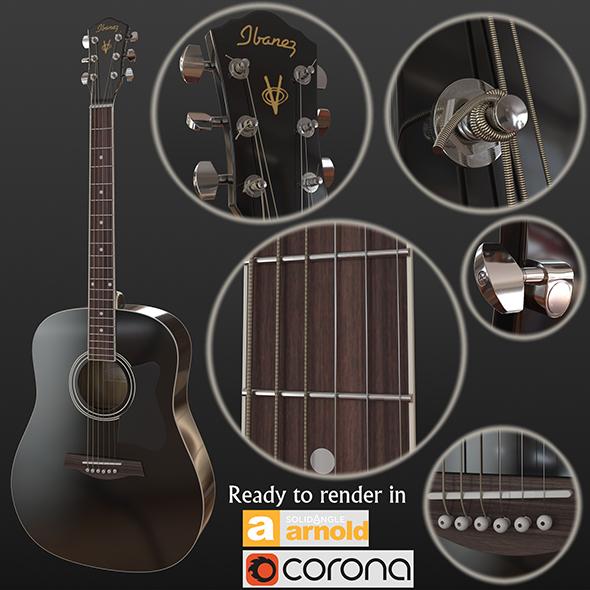 3DOcean Guitar black 20692607