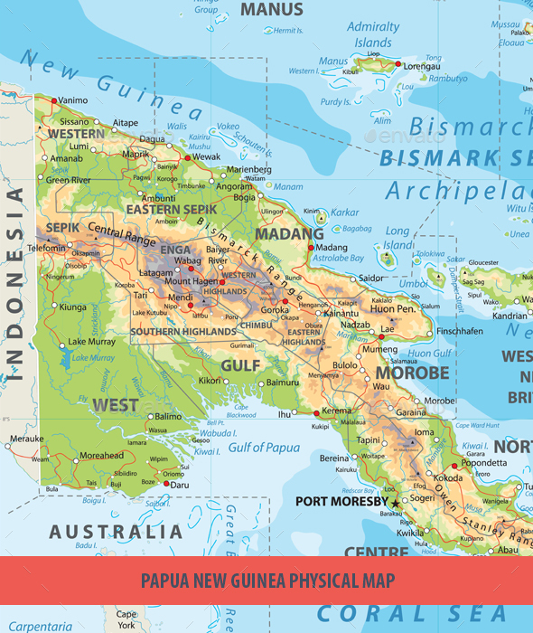 Papua New Guinea Physical Map - Travel Conceptual
