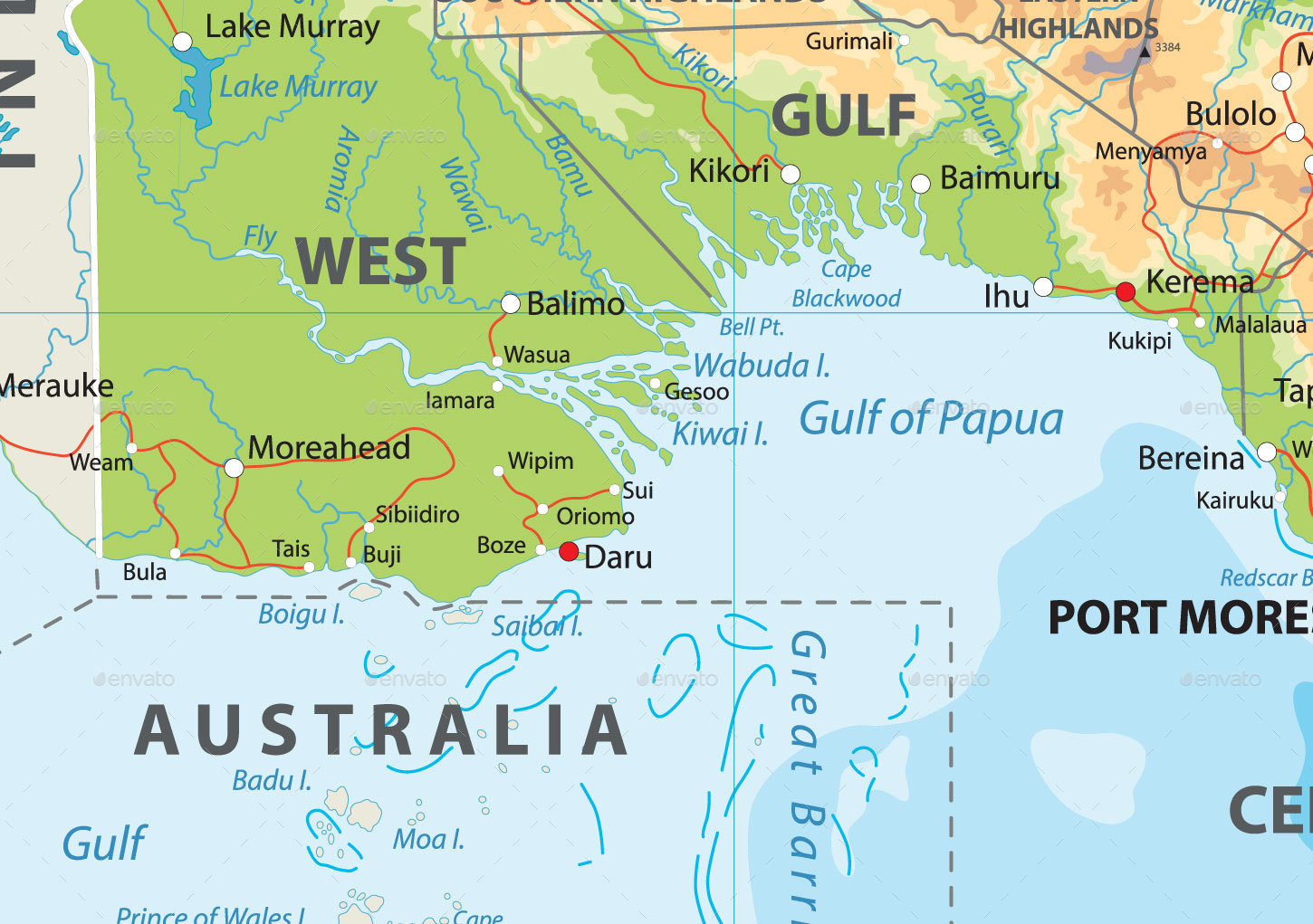 Papua New Guinea Physical Map By Cartarium Graphicriver