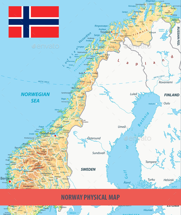 Norway Physical Map - Travel Conceptual