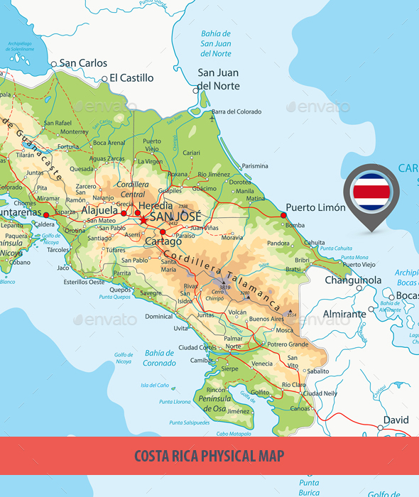 Costa Rica Physical Map - Travel Conceptual
