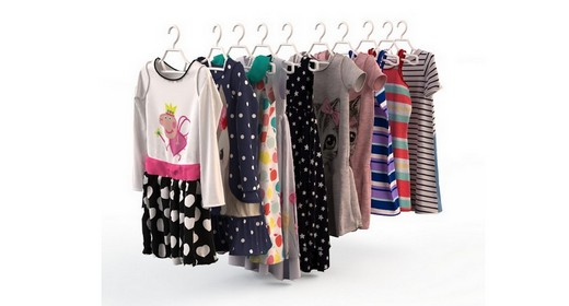 Children's clothing on hangers