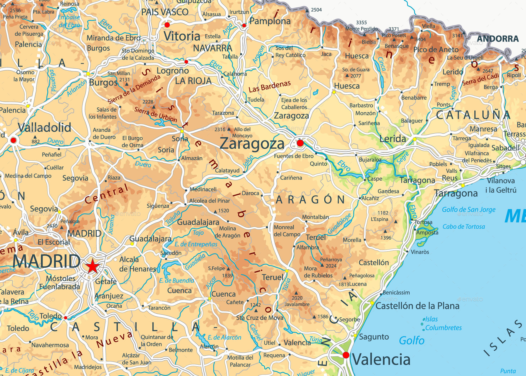 Spain Physical Map by Cartarium GraphicRiver