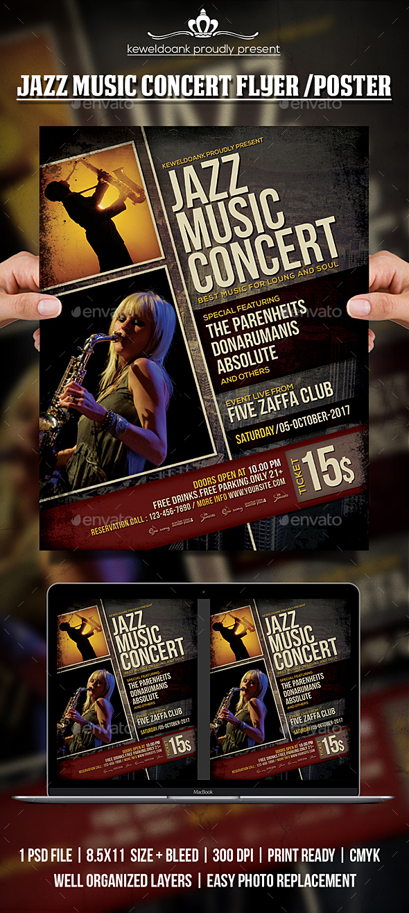 Jazz Music Concert Flyer / Poster - Concerts Events