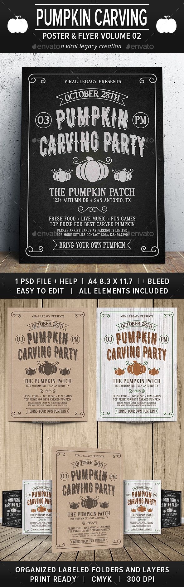 Pumpkin Carving Party Poster / Flyer V02 - Flyers Print Templates