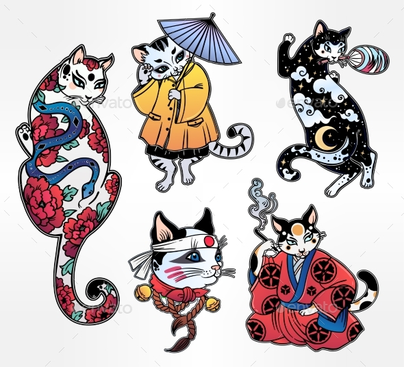 GraphicRiver Set of Flash Style Japanese Cat Patches Stickers 20693128
