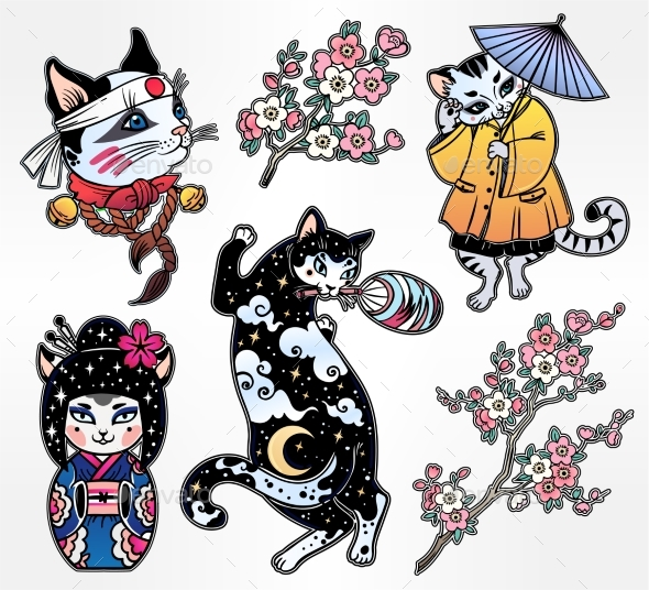 GraphicRiver Set of Flash Style Japanese Cat Patches Stickers 20693130