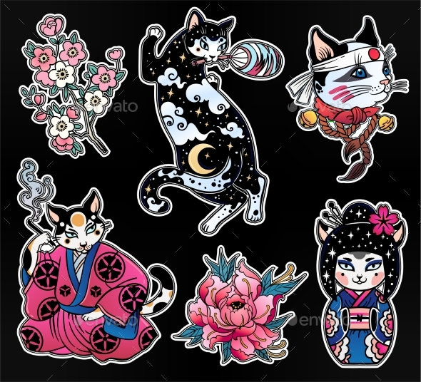 GraphicRiver Set of Flash Style Japanese Cat Patches Stickers 20693138