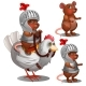 Beaver Knight on Chicken Cartoon Animals Character