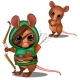 Mouse Archer in Green and Face with Battle Color