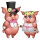 Marriage of Bride and Groom Pigs in Wedding Suits
