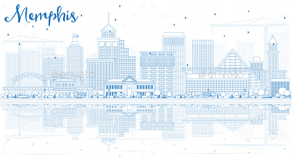 Outline Memphis Skyline with Blue Buildings and Reflections. - Buildings Objects