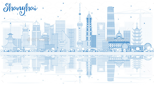 Outline Shanghai Skyline with Blue Buildings and Reflections. - Buildings Objects