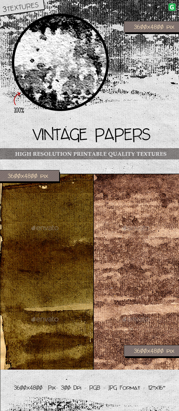GraphicRiver Vintage Paper Texture Pack 15 20693382