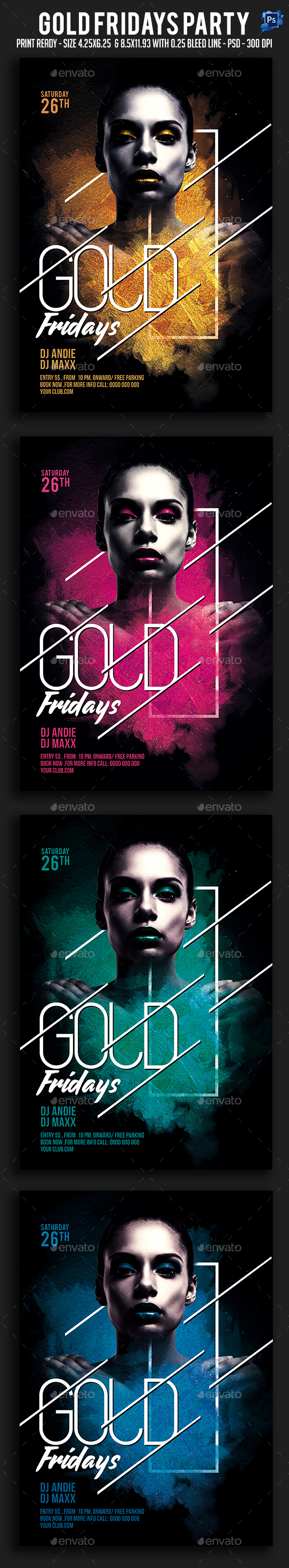 GraphicRiver Gold Fridays Party Flyer 20693654