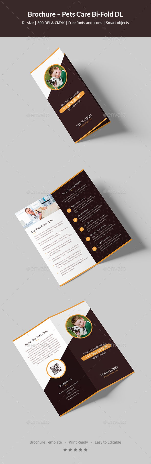 GraphicRiver Brochure Pets Care Bi-Fold DL 20693793
