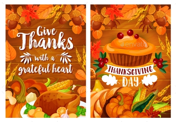 Thanksgiving Dinner Poster Set with Turkey and Pie