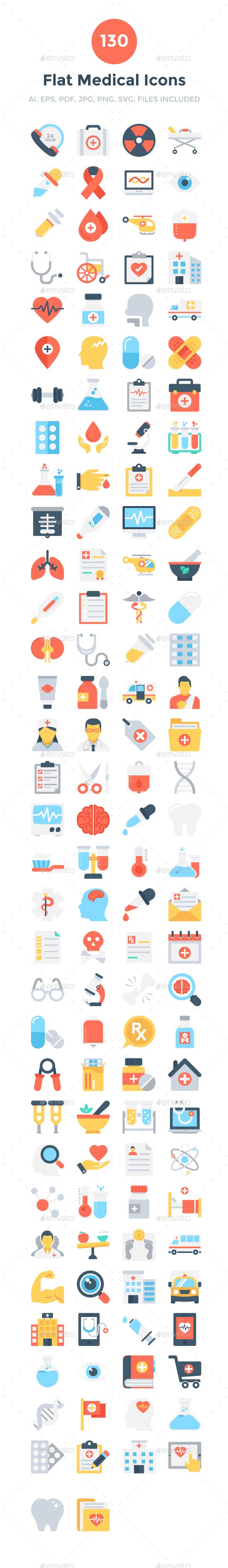 130 Flat Medical Icons - Icons