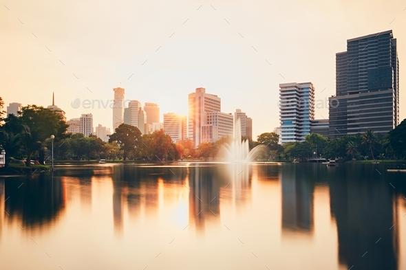 Bangkok at the dusk - Stock Photo - Images