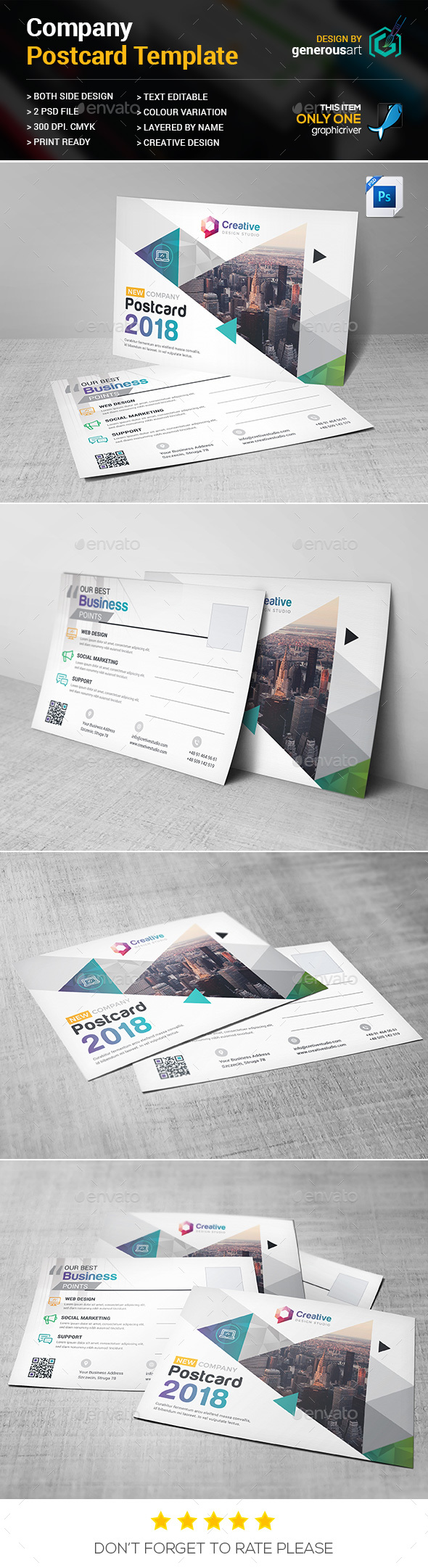 Company Postcard - Cards & Invites Print Templates