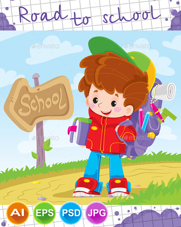 Boy Goes to School - People Characters