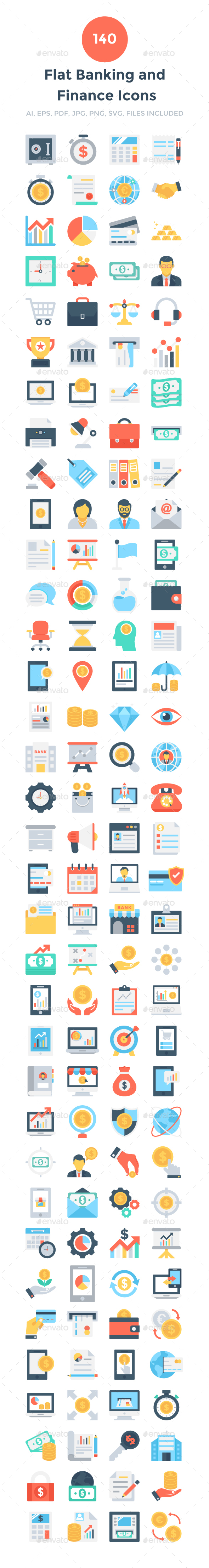 GraphicRiver 140 Flat Banking and Finance Icons 20694176