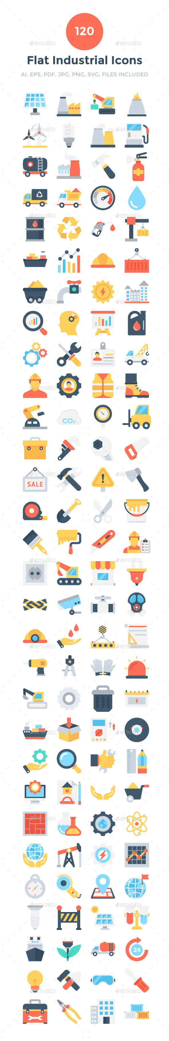 GraphicRiver 120 Flat Industrial Icons 20694187