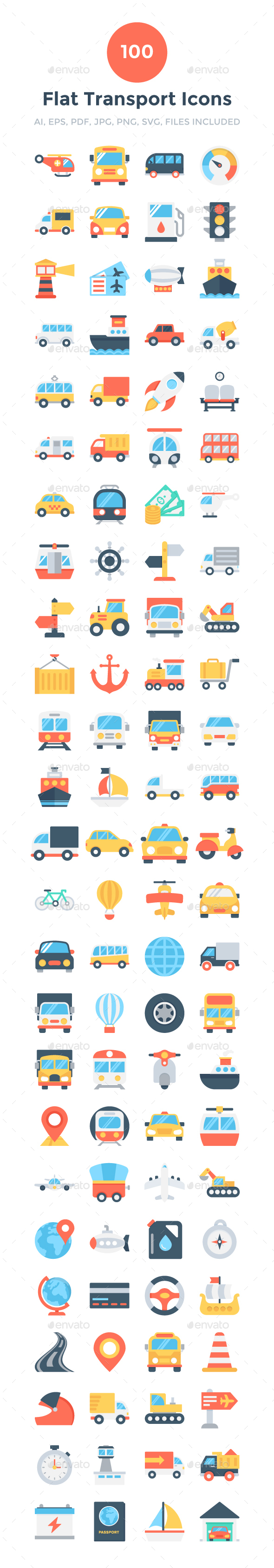 100 Flat Transport Icons - Icons