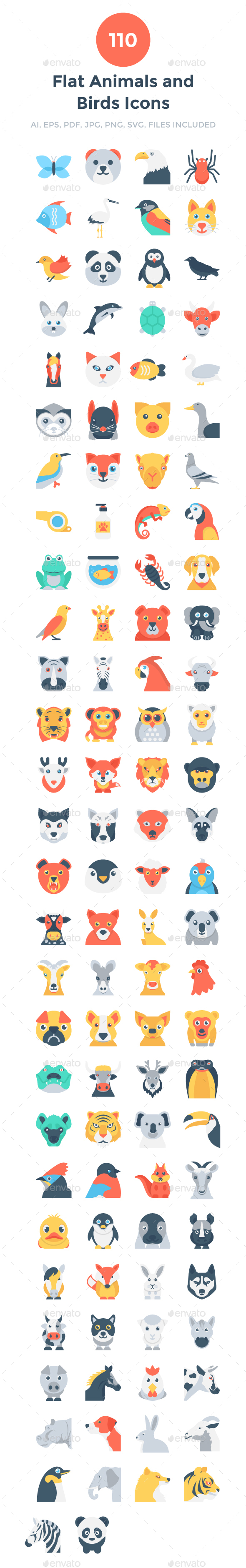 GraphicRiver 110 Flat Animals and Birds Icons 20694230