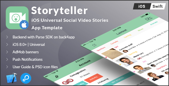 Storyteller   iOS Universal Video Sharing App Template (Swift) - CodeCanyon Item for Sale