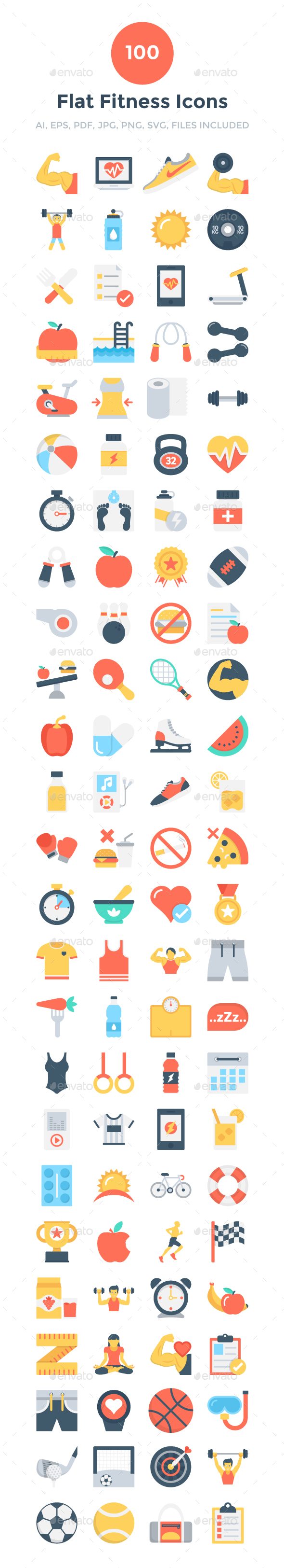 100 Flat Fitness Icons - Icons