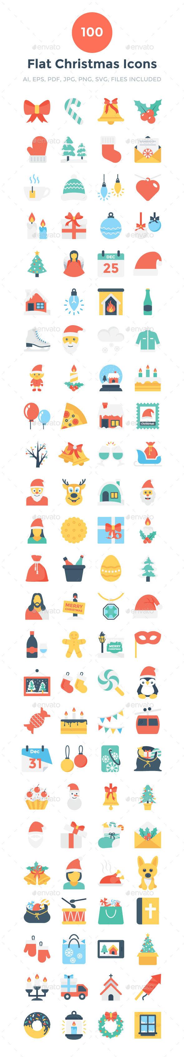 100 Flat Christmas Icons - Icons