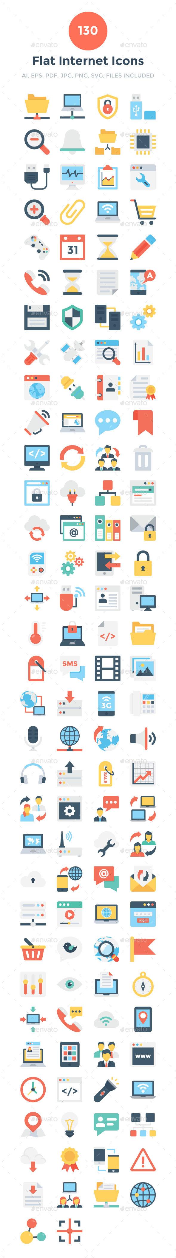 130 Flat Internet Icons - Icons